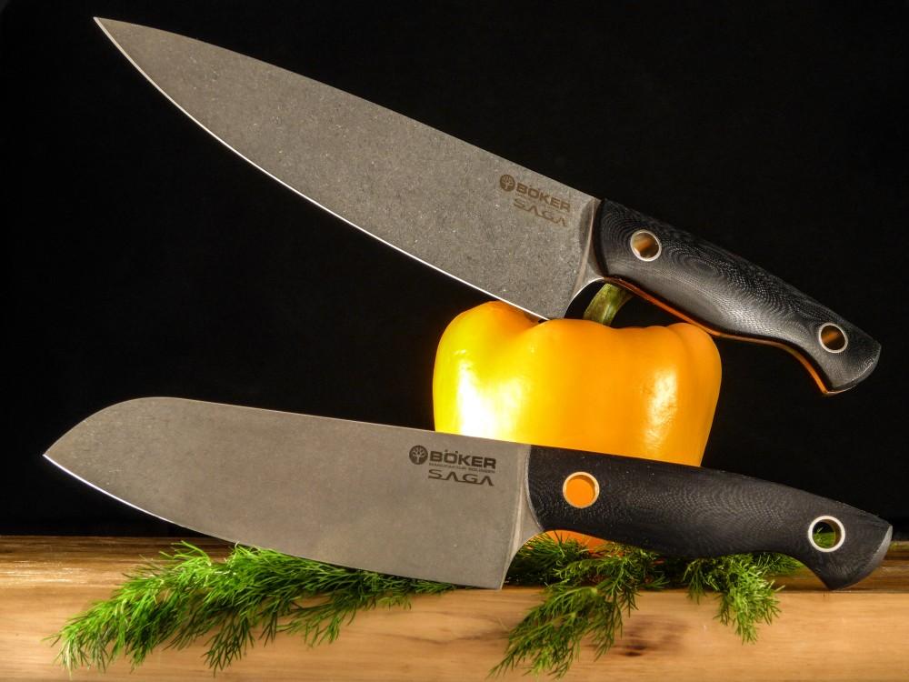 Messer Wien Böker Saga. Vier Modelle erhältlich. Kochmesser, Schinkenmesser, Santokumesser und Gemüsemesser. Böker aus Solingen mit Kochmesser Saga. Küchenmesser mit g-10 Griff und Klinge mit Stonewash-Finish.