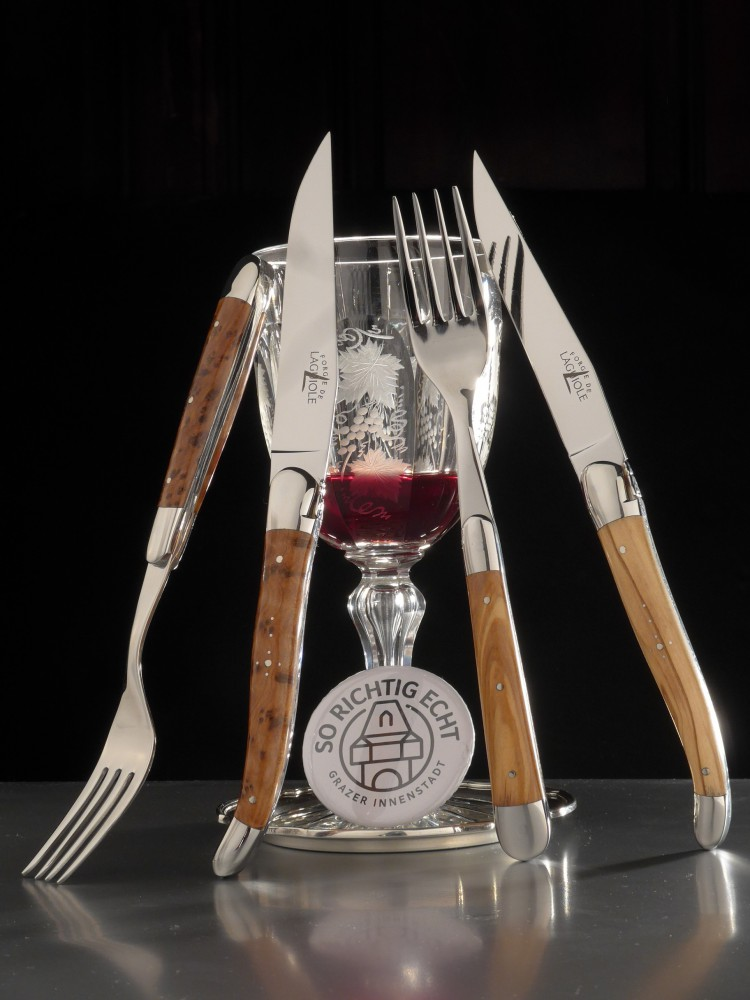 Messer Graz Forge de Laguiole Forge de Laguiole Steakbesteck Thuje Olive Steakbesteck