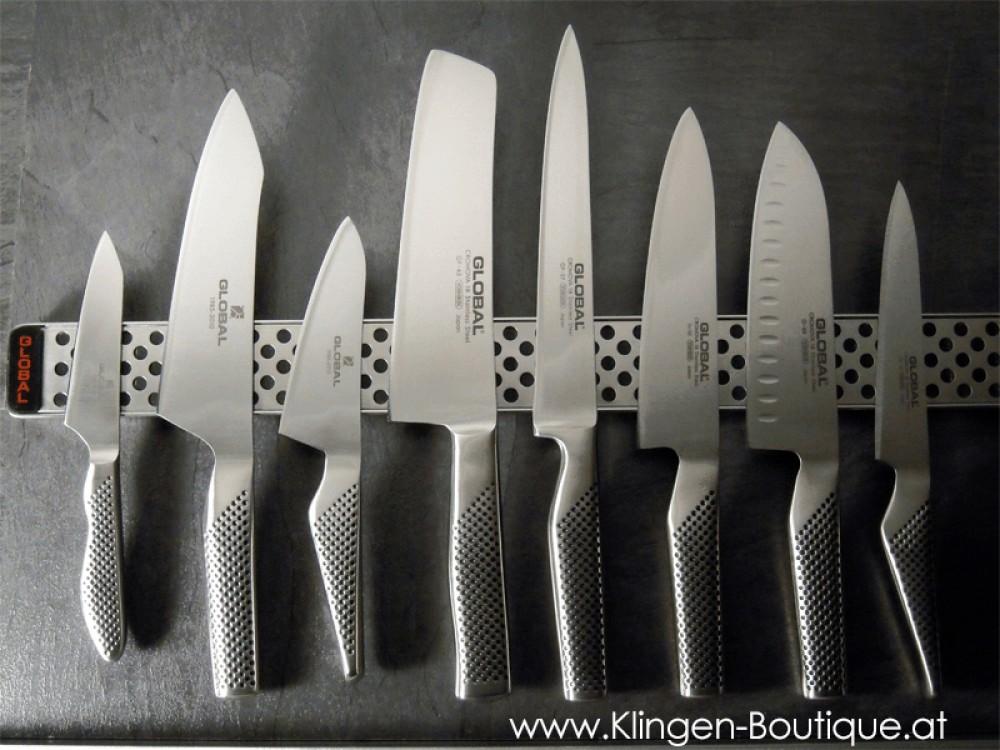 Messer Wien Verschiedene japanische Kochmesser von Global. Global_Messerleiste_japanisches Kochmesser_Küchenmesser