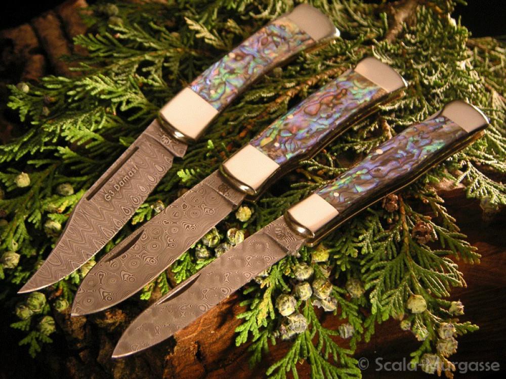 Messer Wien G3 Damast-Taschenmesser von Hartkopf. Nicht rostfreie Damastklingen mit Abalone-Griffen auch mit rostfreier Stahlklinge erhältlich. hartkopf g3 damast 320 lagen abalone perlmutt balbach taschenmesser