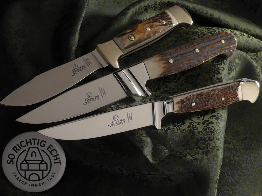 Messer Wien Diverse Jagdmesser aus Solingen von Hubertus mit Flacherl und rostfreier Klinge. jagdmesser hubertus solingen nicker flacherl hirschhorn