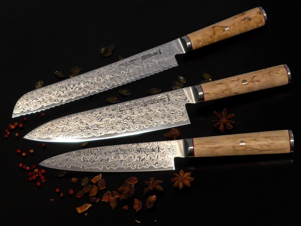 Messer Wien Japanische Kochmesser von Miyabi. Die Serie 5000MCD ist nicht nur extrem hart (63 HRC) und schnitthaltig, sondern auch äußerst elegant! Das Birkenholz sorgt darüber hinaus für eine sehr angenehme Haptik. miyabi birke lagendamast brotmesser gyuto universalmesser 63 rockwell