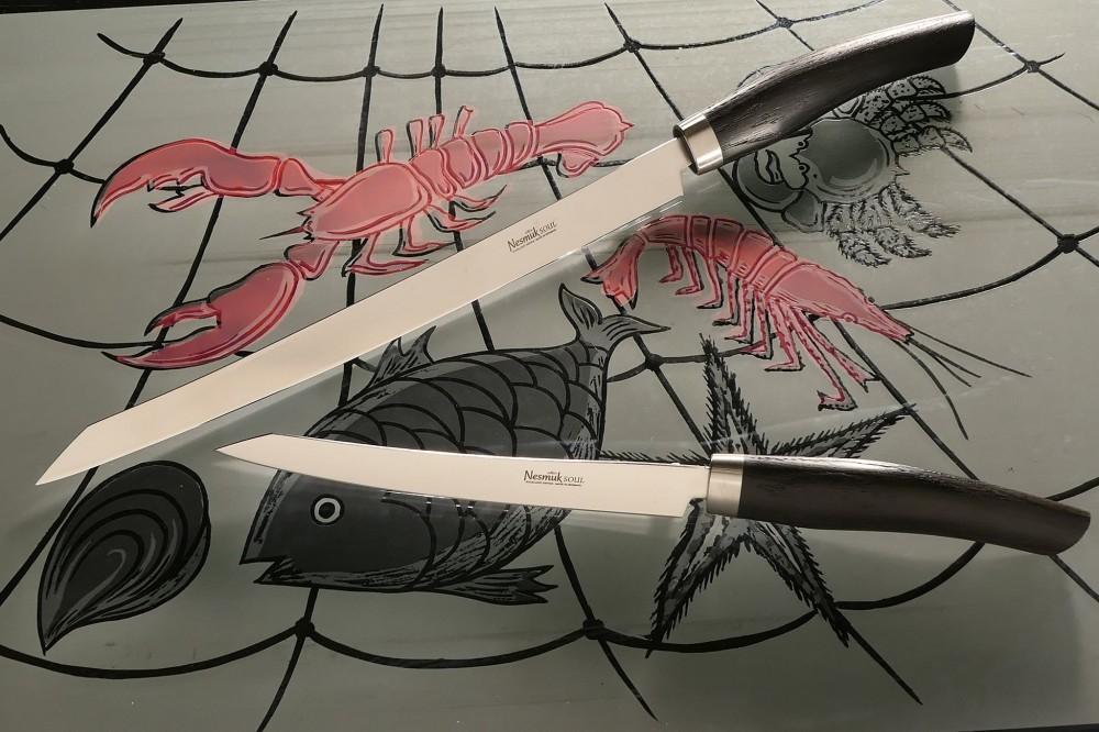 Messer Wien Slicer von Nesmuk, Soul-Serie. Klingen: 16cm (starr) und 26cm (halbflexibel). Griff: Mooreiche kochmesser nesmuk soul filetiermesser slicer niob mooreiche rostfrei 16cm 26cm