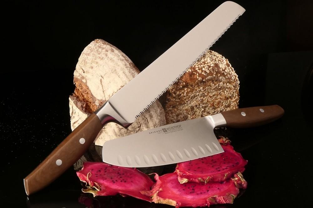 Messer Wien Brotmesser und Santoku Epicure von Wüsthof. Klinge: hochlegierter Edelstahl, 58 HRC, geschmiedet. Griff: Naturfaserverbundstoff. kochmesser wuesthof epicure naturfasergriff geschmiedet rostfrei solingen