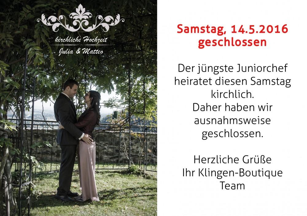 Messer Wien  14.5. wegen Hochzeit geschlossen